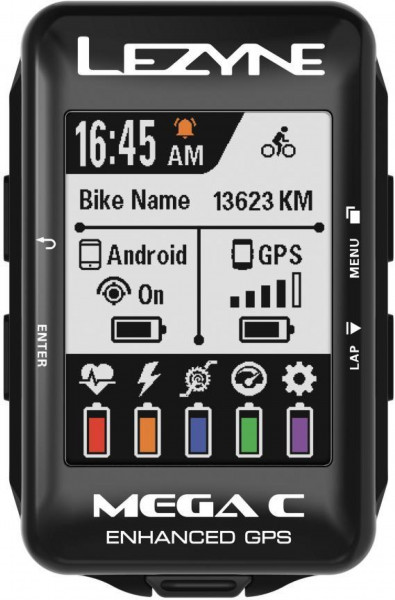 Lezyne Mega Color GPS, Ble, Ant+ Unit, Us Charger Cable Included. Includes M Handle Bar