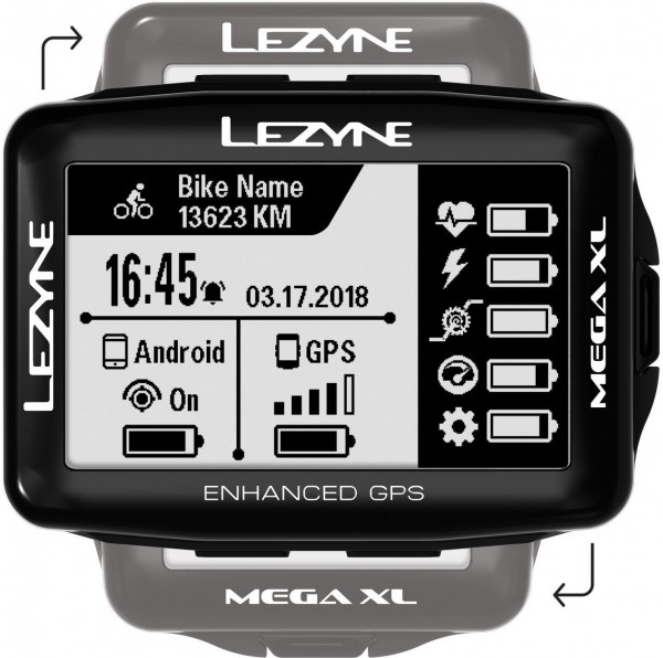Lezyne Mega Xl GPS, Ble, Ant+ Unit, Usb Charger Cable Included. Includes M Handle Bars/